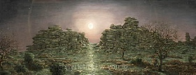 print full moon rising hound tor dartmoor david young paintings