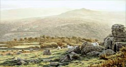 print autumn dawn kings tor dartmoor david young paintings