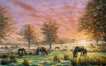 print days end dartmoor ponies dartmoor david william young paintings