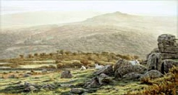 print autumn dawn kings tor dartmoor david young paintings