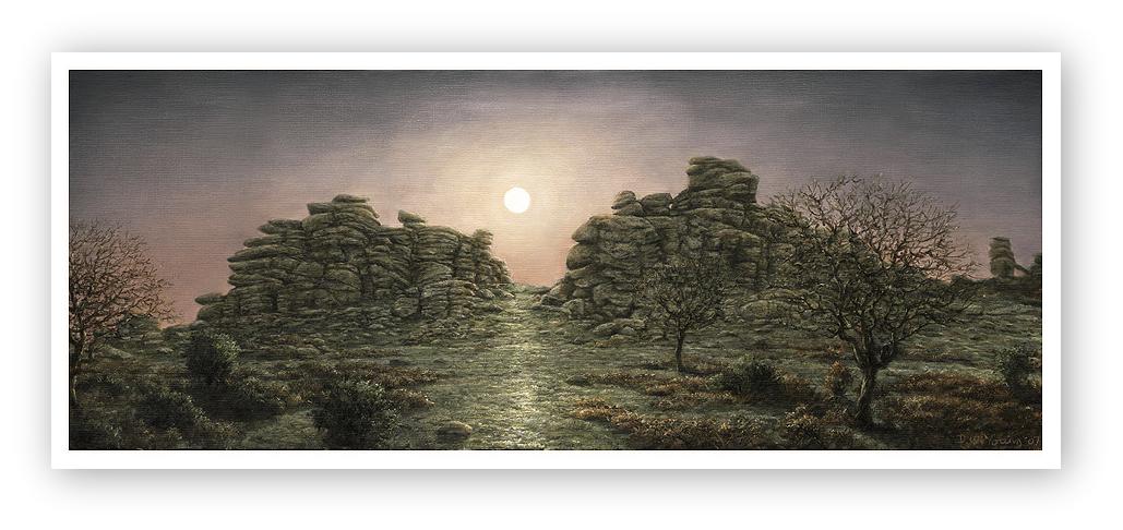 Full Moon Rising, Hound Tor, Dartmoor painting