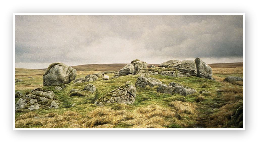 Granite outcrop above Sandy Hole Pass on the East Dart river, Dartmoor
