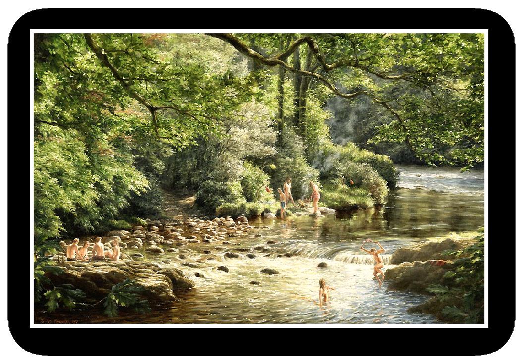 Skinny Dipping, the River Dart, Dartmoor painting