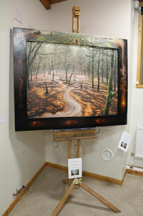 The Woodland Glade & the Hand of Man painting with frame by David William Young
