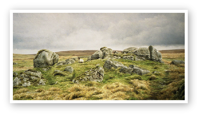 Painting of Granite outcrop above Sandy Hole Pass on the East Dart river, Dartmoor by David Young