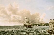 prints hm bark endeavour plymouth sound south devon coast  david young paintings