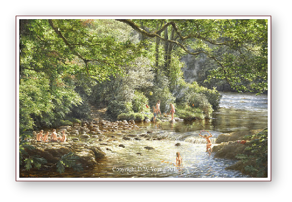 Skinny Dipping, The River Dart, Dartmoor painting by David W Young