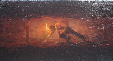 Miner crawling in mine tunnel, Devon Great Consols painting by David William Young