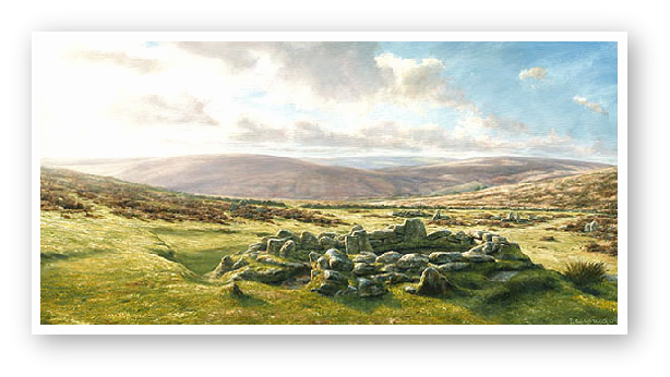 Grimspound, Dartmoor painting by David W Young