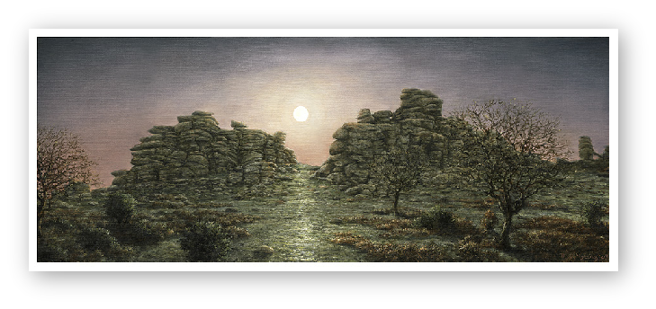 Full Moon Rising, Hound Tor, Dartmoor painting by David W Young
