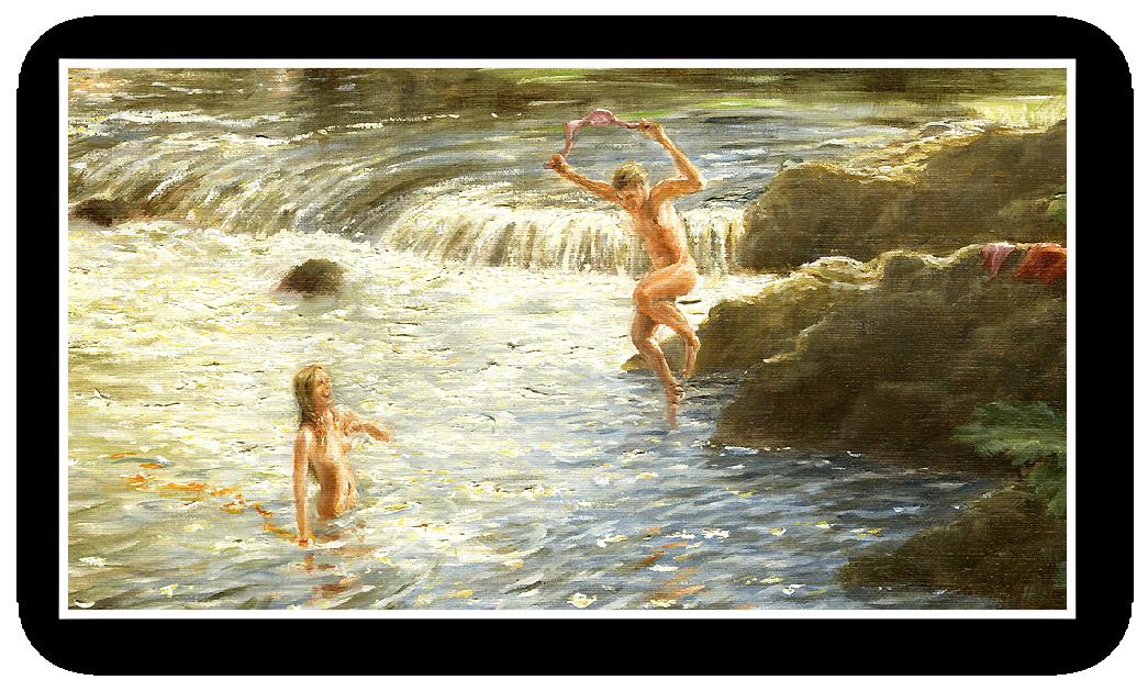 Skinny dipper leaping into River Dart, Dartmoor detail